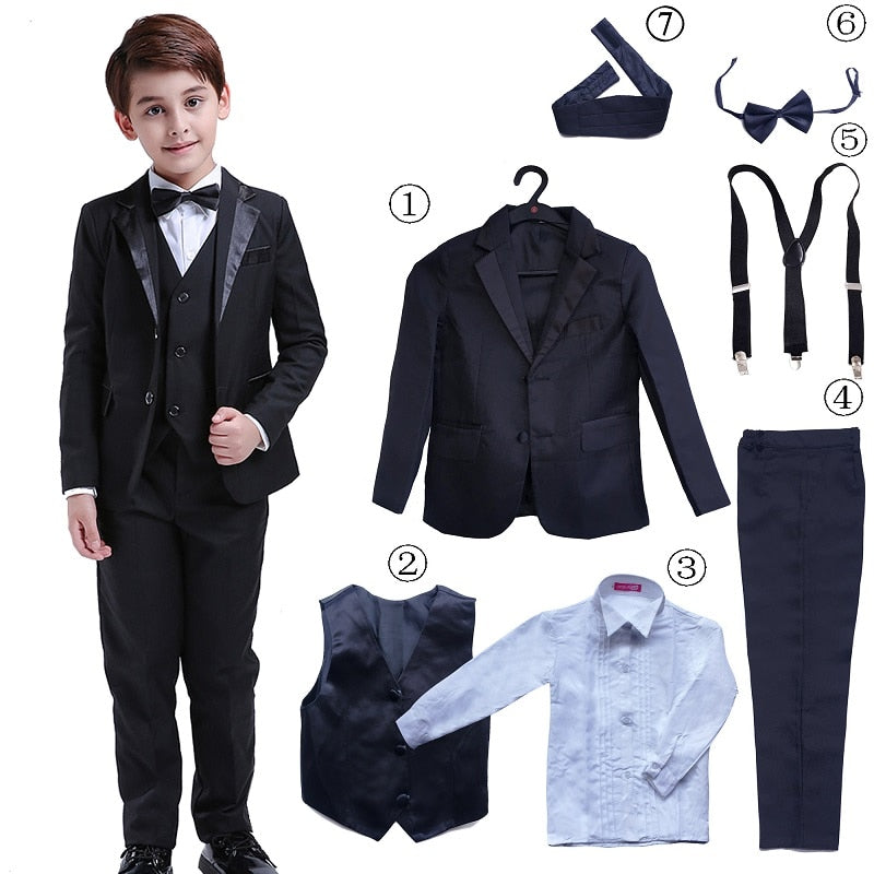 7 Pcs Classic Boys Suits for Weddings Formal Blazer Kids Tuxedo Shirt Vest Party Ring bearer Suits Black