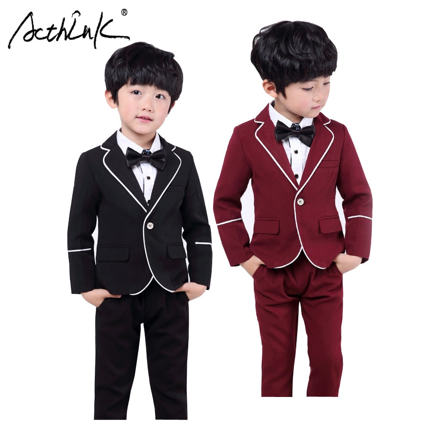 ActhInK New Boys Blazer Suits with Shirts Kids Wedding Costume Boys Solid Tuxedo with Bowtie Children Spring Formal Clothing Set