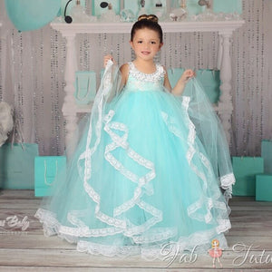 Blue White Ankle Length Party LaceTulle Cute andFantastic Sleeveless Solid Flower Girl Dresses for Weddings Mesh Ball Gown  2016