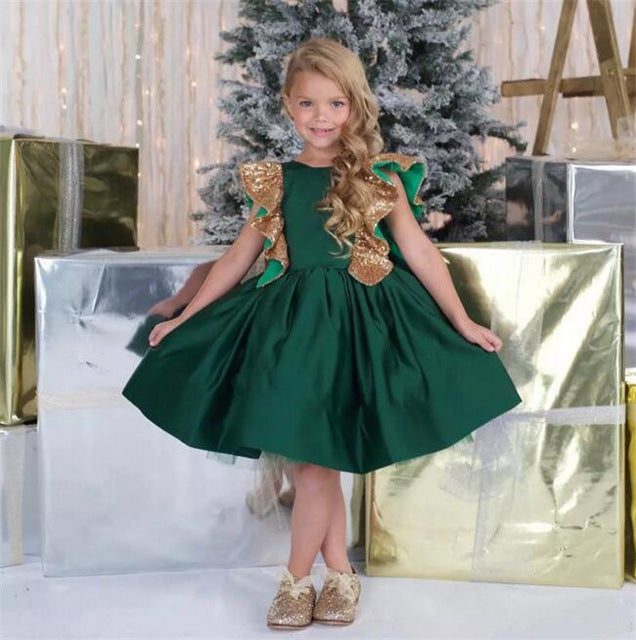 Emerald Green New Little Girls Birthday Dress Knee Length with Sequins Bow Flower Girl Dress for Wedding Customized Girls Gown