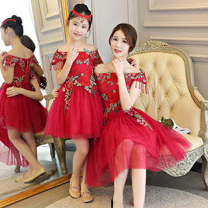 Mother Daughter Dresses for Wedding Evening Off Shoulder Dress Mommy and Me Clothes Mama Girl Mom and Daughter Dress for Family