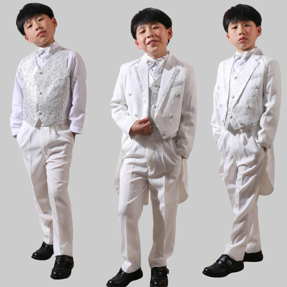 5Pcs Toddler Boys Suit White Formal Tuxedo Long Tail Children Wedding Party Suits