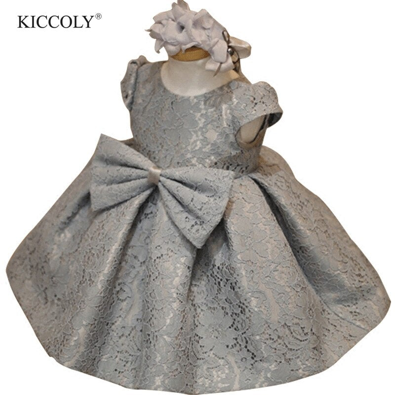 Infant Baby Clothes Gray Lace Bow Newborn Baptism Dress For Baby Girls Party Christening Dresses 1 Year Birthday Infant Outfits