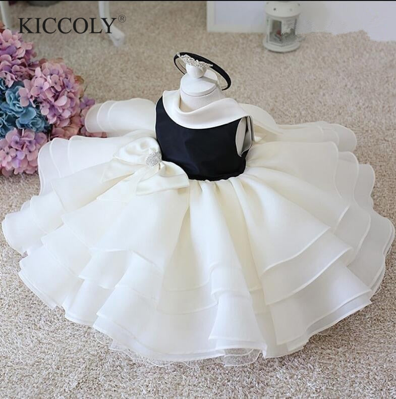 Infant Baby Clothes Lace Beads Bow Newborn Baptism Dress For Baby Girls Party Christening Dresses 1 Year Birthday Infant Outfits