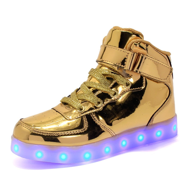 EU 25-42 Led Shoes for kids and adults USB charger Light Up High top shoes for boys girls Fashion Party Glowing Sneakers