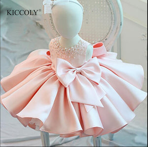 Infant Girl Clothes Beads Lace Bow Newborn Baptism Dress Sleeveless Baby Girls Party Christening Dresses 1 Year Birthday Outfits