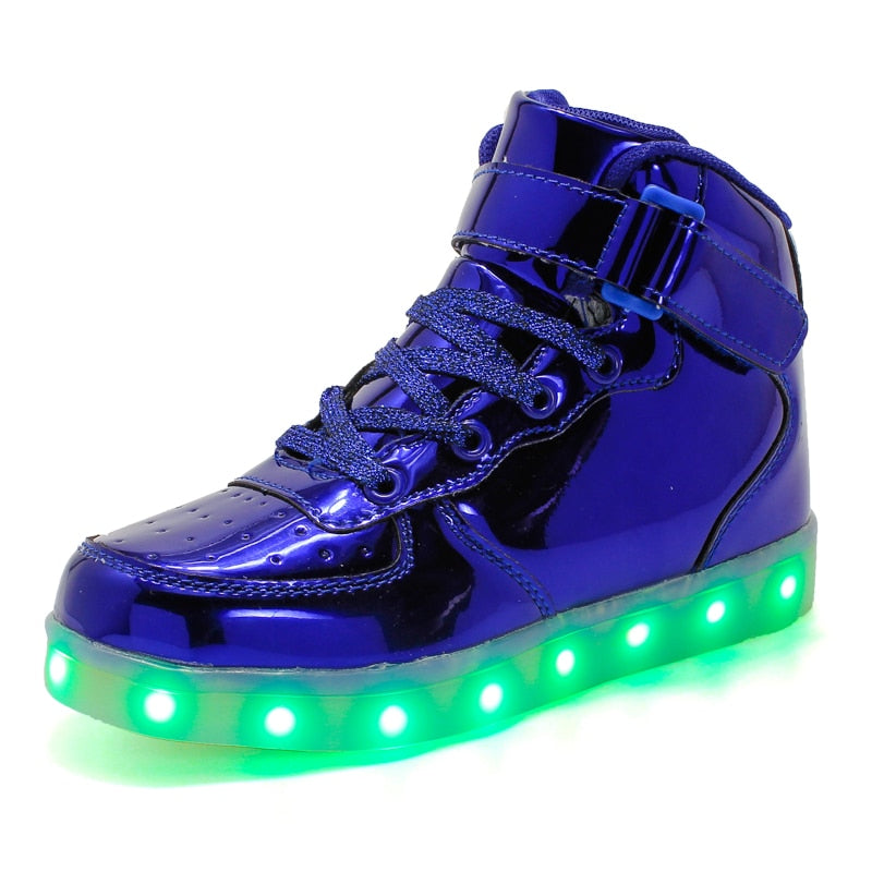 Led Children Shoes 2018 New USB Charging Basket Shoes With Light Up Kids Casual Boys&Girls Luminous Sneakers Glowing Shoe enfant