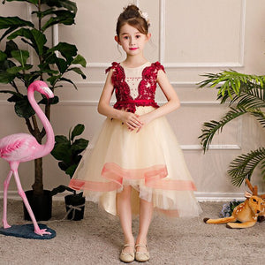 Beading Appliques Flower Girl Dresses for Wedding Short Front Long Back Evening Gowns Tulle Ball Gown Kids Pageant Dress B342