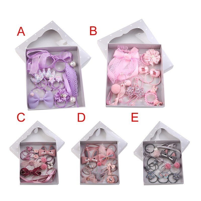 Baby Princess Headwear Set Girls Hair Accessories Ribbon Bow Hair Clip Hairpins Kid Crown Headdress With Box Gift Present