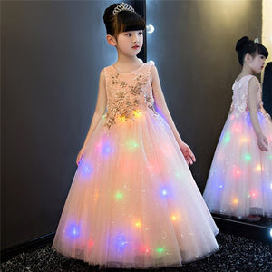 2019 New High Quality Luxury Children Girls Hand-made Flowers Princess Lace Dress Beautiful Birthday Wedding Party Long Dress