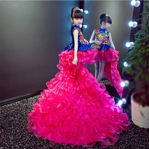 Luxury Princess Dress Crystal Flower Girl Dresses Long Tailing Kids Pageant Dress Wedding Ball Gown Girls Formal Dress Party B64