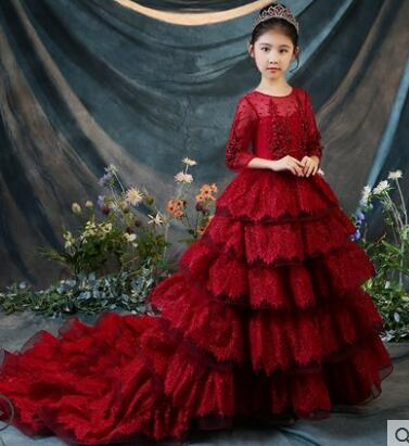Beading Flower Girl Dresses For Wedding Party Costume Ball Gown Long Sleeve Princess Dress Luxury Red Party Gown Communion D106