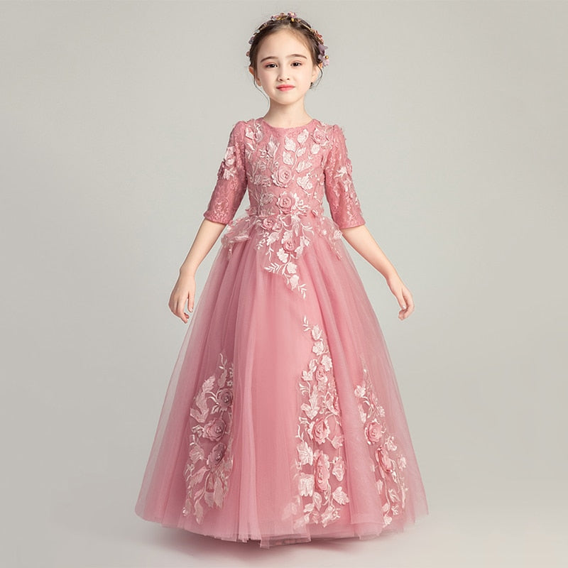 Luxury Pink Holy Communion Dress Girls Evening Gowns Half Sleeve Appliques Lace Flower Girl Dresses for Wedding Party Vestidos