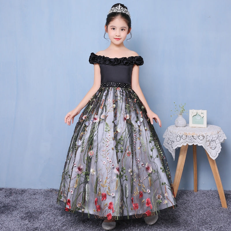 2018Spring Girls Kids Birthday Wedding Holiday Party Long Princess Ball Gown Dress Children Model Show Luxury Sleeveless Dress