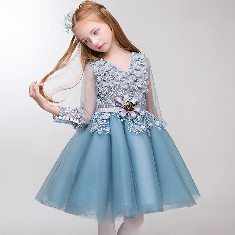 Luxury V-neck Flower Girl Dresses Wedding Birthday Party Ball Gown Floral Appliques Hollow Out Cute Princess Dress Kids Clothes
