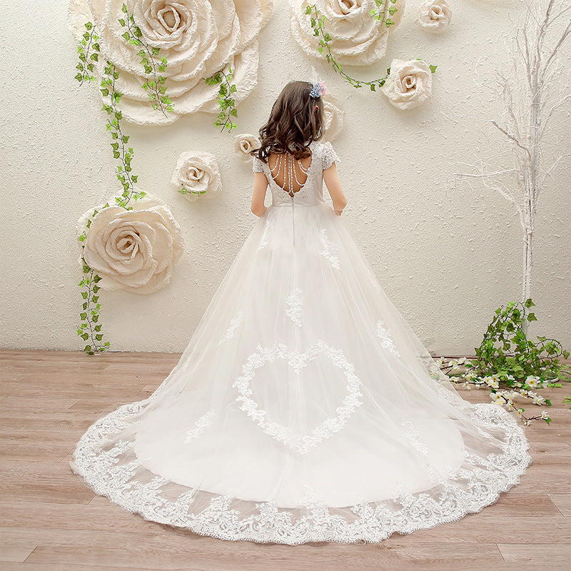Long Trailing Flower Girl Dresses for Wedding Beading Lace White Holy Communion Dress Backless Kids Pageant Dress for Birthday K