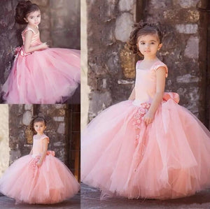 New Blush Pink Tulle Ball Gown Flower Girl Dresses for Wedding Kids First Communion Gown Custom Made High Quality