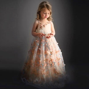 Fancy Butterfly Kids Girl Wedding Flower Girls Dress Princess Party Pageant Formal Dress Prom Little Baby Girl Birthday Dress