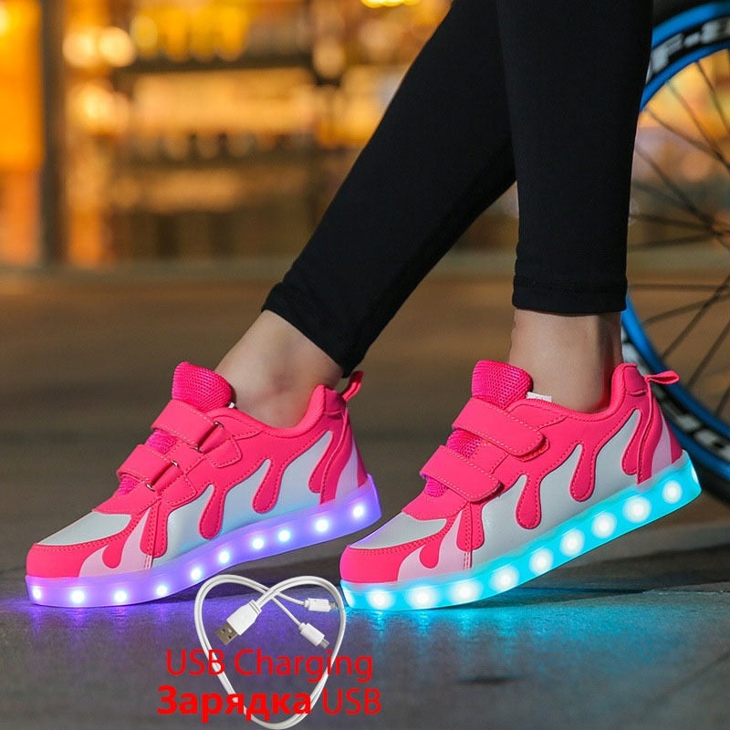 2019 Tenis Led Shoes Glowing Sneakers for Boys and Girls Light Up Shoes for Kids Led Luminous Shoes Size 28-40 tenis infantil