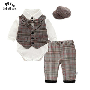 Boy Baby Clothes Set cotton 2019 spring kids gentleman Bodysuit with vest pant hat Newborn Clothing Infant Boys Party Suit dress