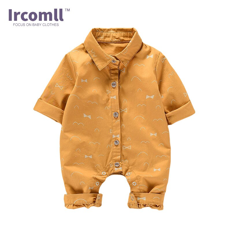 2019 Newborn Baby Rompers Long Sleeve body suit 100% Cotton Outfits Turn-down Collar Baby Boy Clothes Jumpsuit