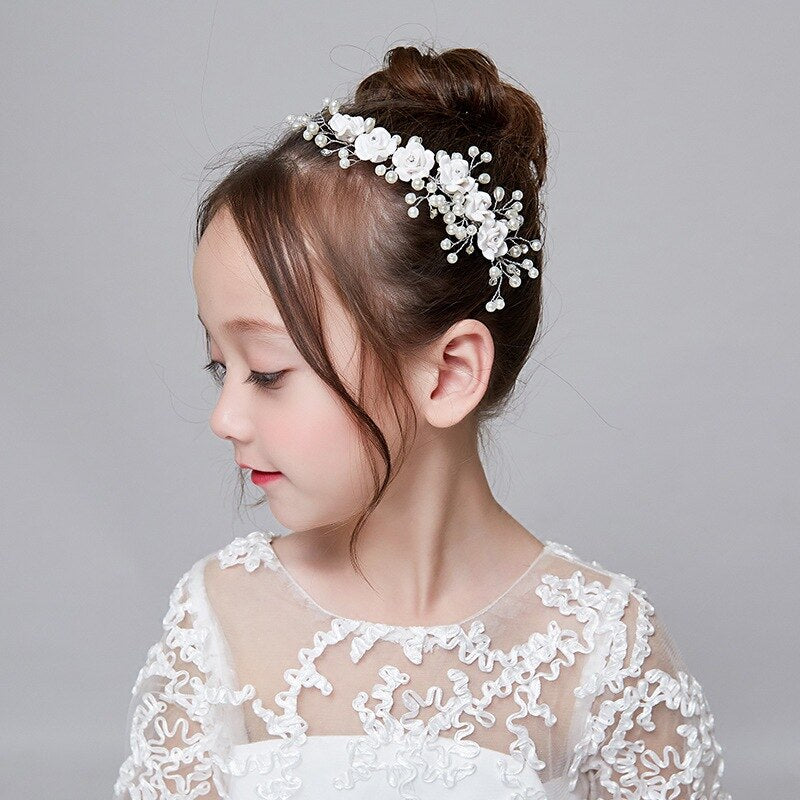 Kids Crown Tiara Princess Pearl Silver Performance Headwear Wedding Bridesmaid Children Hair Accessories