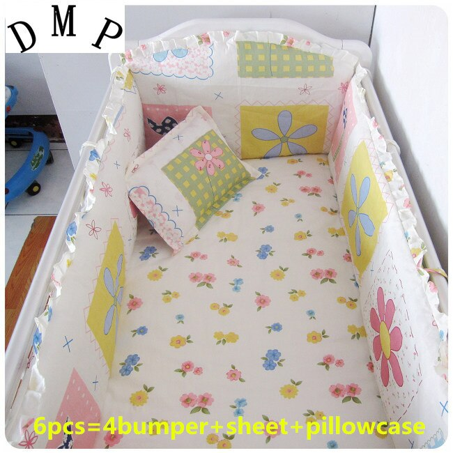 2016 6PCS Crib Baby Bedding Set for Crib Newborn Baby Bed Linens for Girl Boy Cartoon,(bumpers+sheet+pillow cover)