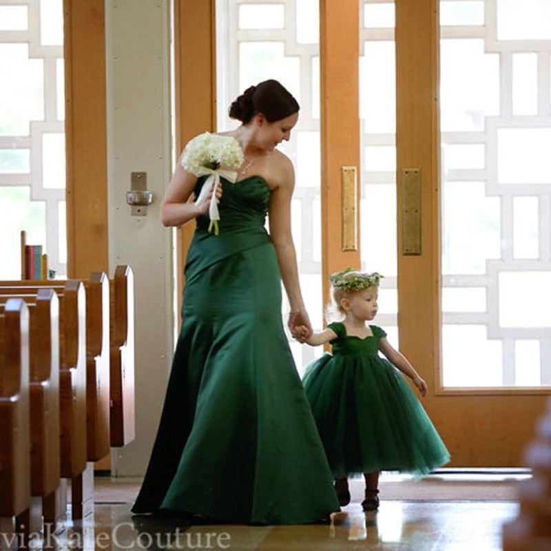 Mother and Daughter Clothes Wedding Dress Mom and Daughter Matching Dress Girls Princess Tutu Dress 12M 3 8 10 Years Old Green