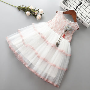 2-7 year High quality girl dress 2019 new summer cute bow flower kid children girl clothing party formal princess dress