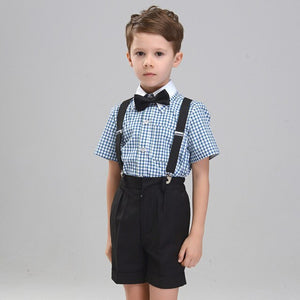 Short Sleeve 4pcs/set(Strap+Shirts+Pants+Bowtie) Chorus Plaid Handsome Summer Boys Show/Performance/Wedding Groom  Blazers Sets