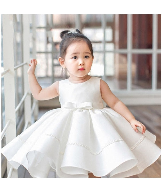 Bow 1 Year Birthday Baby Girl Dresses For Baptism Layered Lace Infant Princess Christening Gown Newborn Girls Party Clothes