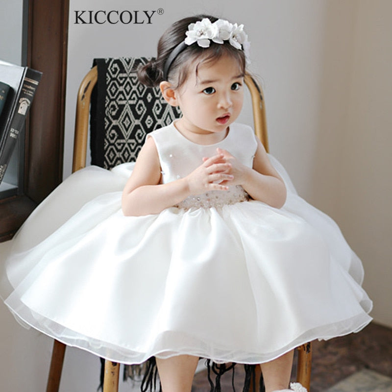 Newborn Tulle Gown Baby Girl Christening Dress Summer Beads Bow 1 Year Birthday Infant Outfits Baptism Party Wedding Dresses