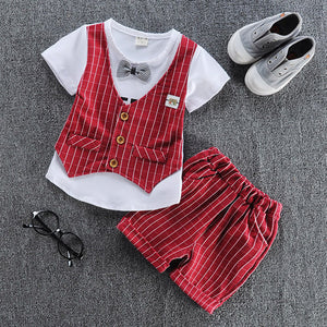 Baby boy clothes summer children clothing sets t-shirt+ shorts suit gentleman plaid printed clothes newborn tr