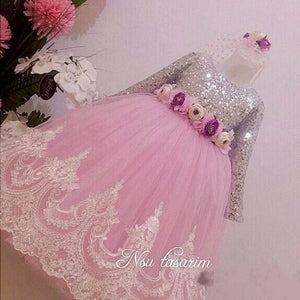 Sparkly Sequins Real Picture 2019 Flower Girl Dresses for Wedding Lace Sequins Baby 1 year Birthday Party Dress Ball Gowns