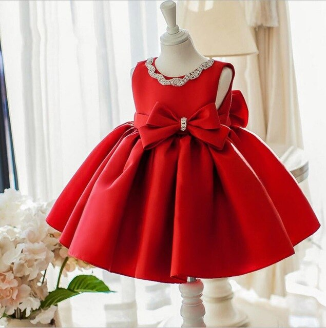 New Formal Newborn Wedding Dress Baby Girl Sequin Bow Pattern For Toddler 1 Years Birthday Party Baptism Dress Christening Gowns