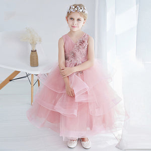 Beautiful Pink Flower Girl Dresses Summer 2017 New Design V Neck Girls Dress for Party Tiered Lace wedding dress Kid Clothes P11