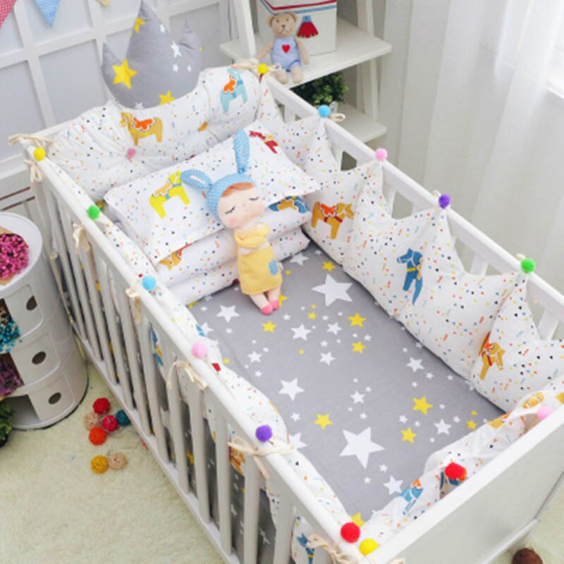 10 Pcs/Set Cotton Newborns Crib Bedding Set Accessories Baby Bedding Set With Storage Hanging Bag Infant Cot Bed Linens Cartoon