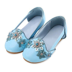New Children Leather Shoes Baby Princess Pink Blue Rhinestone Flower Girls Shoes Toddler Dance Party Dress Shoes Kids 02A