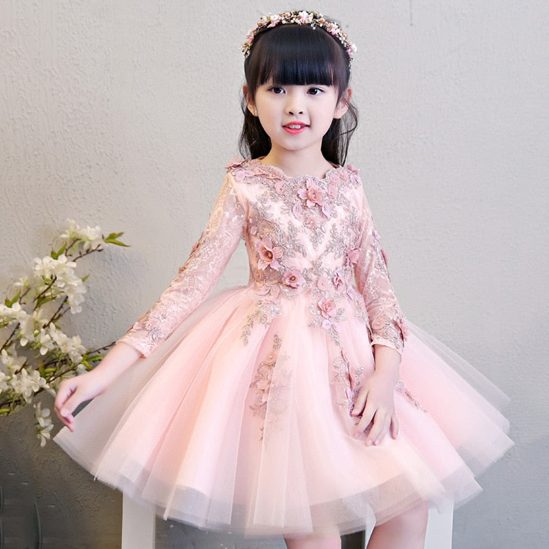 Glizt Flower Girls Pink Wedding Dresses Kids Long Sleeve Bead Appliques Lace Party Princess Birthday Dress First Communion Gown