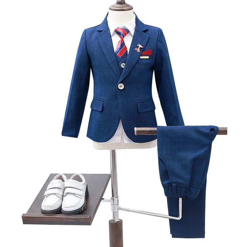 Children's Formal 4pcs Suit Sets Flower Boy Wedding Party Prom Birthday Dress Costume Kids Blazer Vest Shirts Pants Outfits
