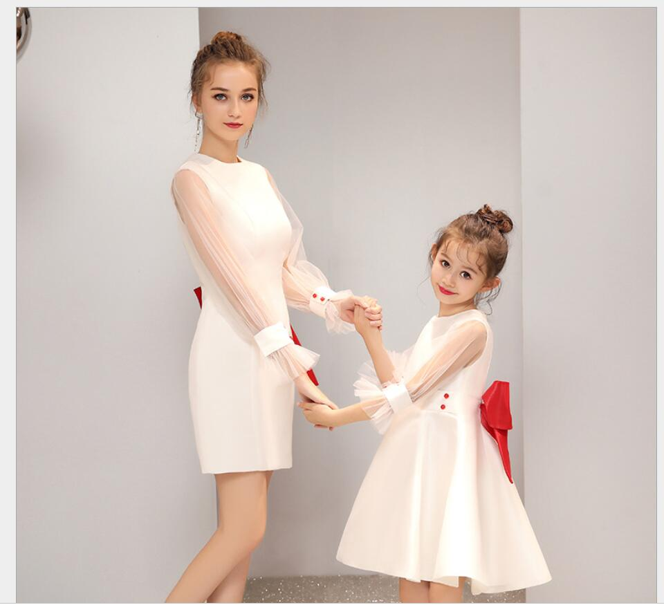 2019  White Fringe Lace Girl Dress Women Dress Long Wedding Party Mother Daughter dresses Family Matching Clothes Family HW2386