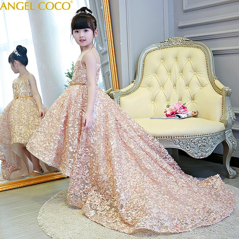 Champagne Children'S Evening Dress Princess Dress Tailing Beauty Contest Stage Costumes Birthday Host Flower Girl Wedding Party