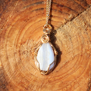 Small Blue Lace Agate Necklace