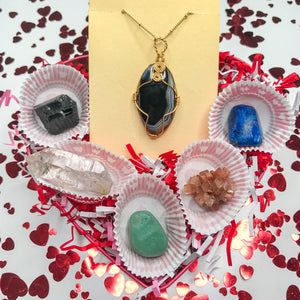 Valentine's Box With Black Agate Necklace