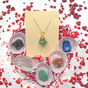 Valentine's Box With Green Fluorite Necklace