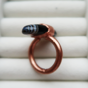 Copper Black Agate Ring (Size 6 1/2)
