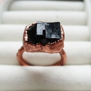 Copper Black Tourmaline Ring (Size 10 3/4)