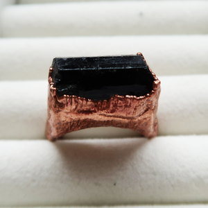Copper Black Tourmaline Ring (Size 8 1/2)