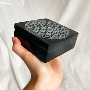 Black Flower of Life Box