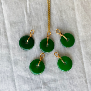 Green Jade Necklace - No Swirl